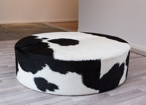 Image of Cowhide Ottoman Round Deep 100x100x29cm