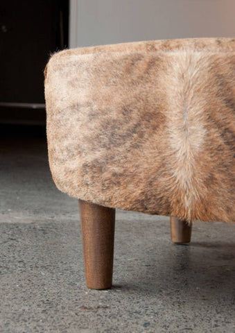 Caramel Exotic Cowhide Ottoman Round with Wood Legs 80x80x38cm