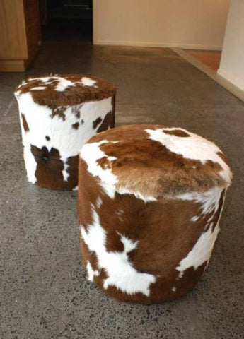 Image of Cowhide Small Round Footstool 40x40x38cm