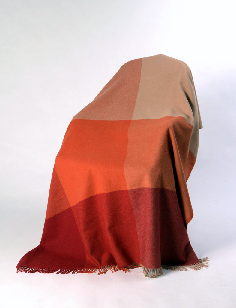 Roxburgh merino wool throw blanket tangerine orange paprika