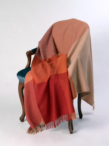 Image of Roxburgh Merino Wool Throw Blanket - Tangerine Orange Paprika