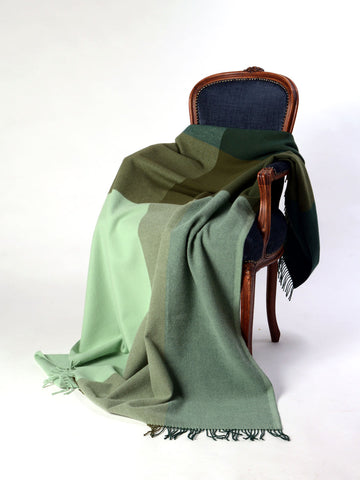 Image of Roxburgh merino wool throw blanket forest olive mint green