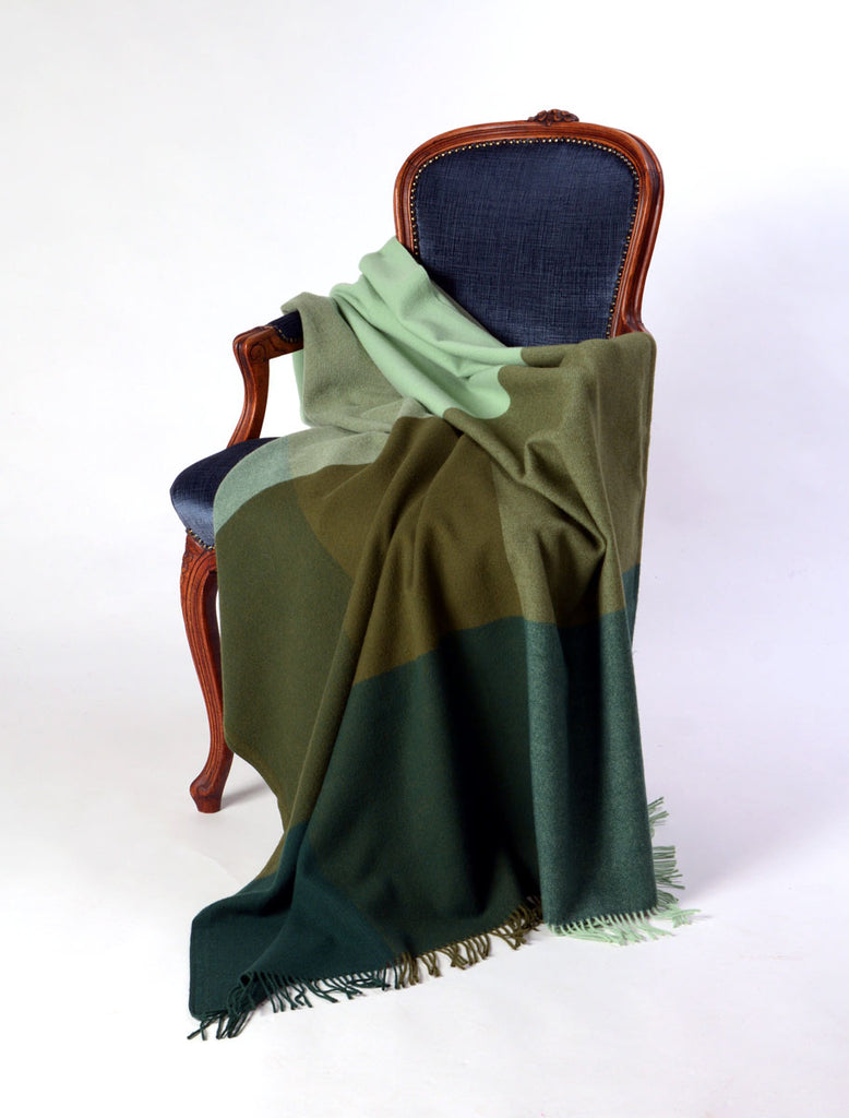 Roxburgh merino wool throw blanket forest olive mint green