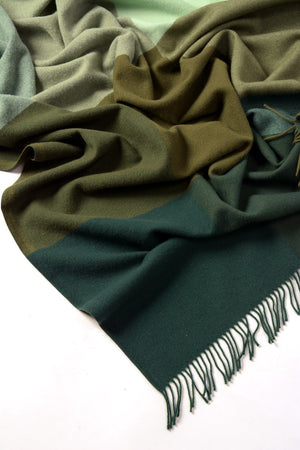 Roxburgh Merino Wool Throw Blanket - Clover Olive Forest