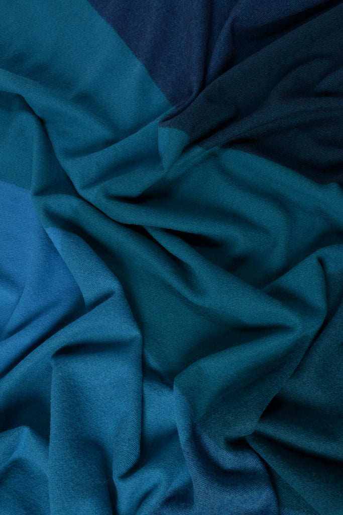 Roxburgh merino wool throw blanket ocean blue teal
