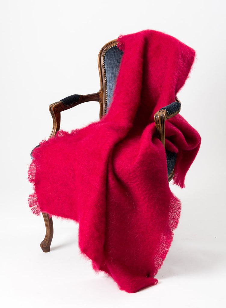 Ruby Red Mohair Throw Blanket