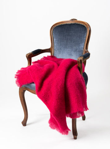 Image of Windermere Ruby Red Mohair Chair Throw