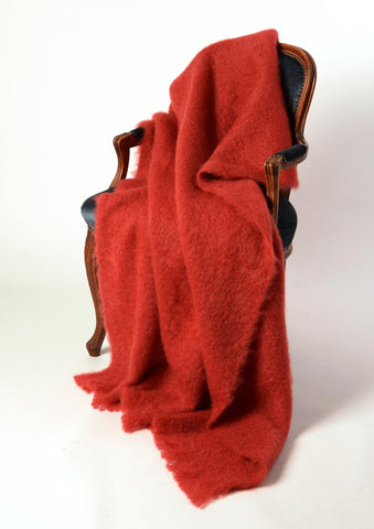 Windermere Russet Terracotta Red Mohair Throw Blanket