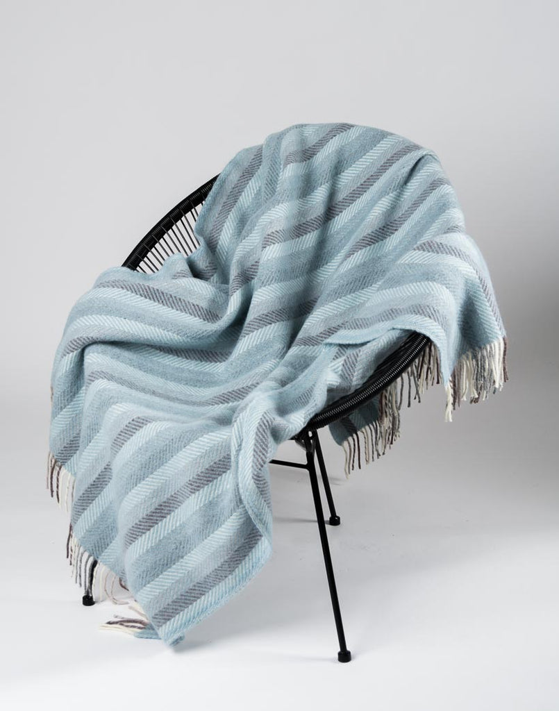 Warwick Shetland Wool Throw Blanket - Sandwick Blue Stripe