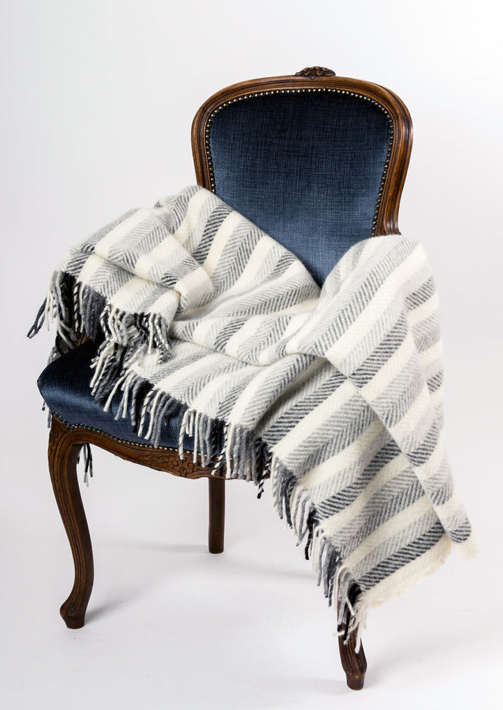 Warwick Shetland Wool Throw Blanket - Sandwick Monochrome