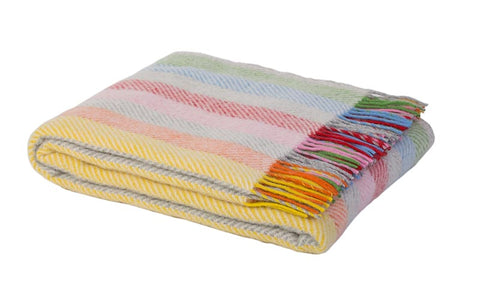 Warwick Shetland Wool Throw Blanket - Sandwick Rainbow Stripe