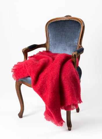 Mohair Blanket New Zealand - Windermere scarlet red mohair throw blanket