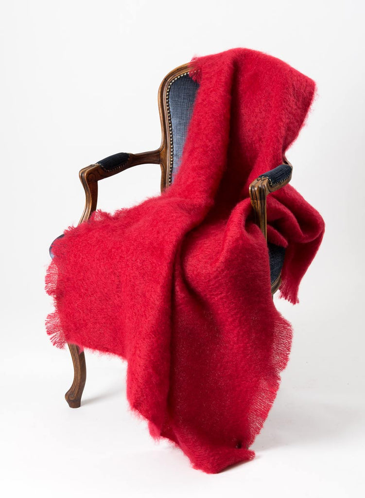 Windermere scarlet red mohair chair throw