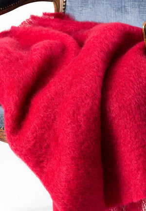 Scarlet Red Mohair Throw Blanket