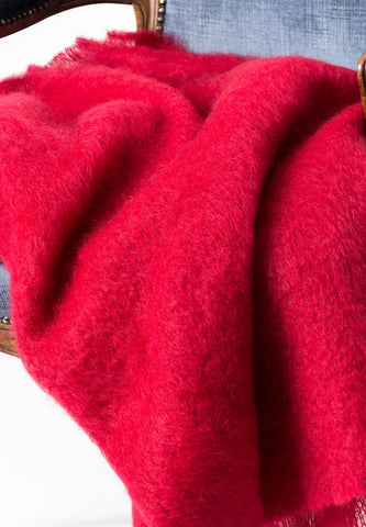 Image of Scarlet Red Mohair Throw Blanket