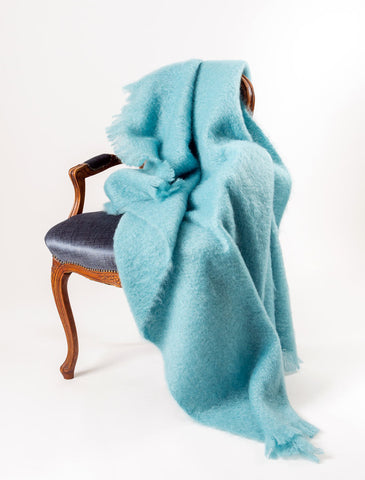 Sea Spray Mohair Throw Blanket