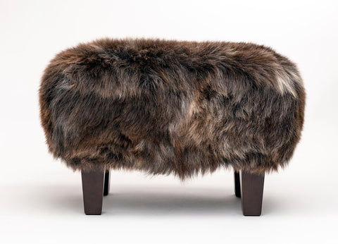 Image of Sheepskin footstool chocolate brown
