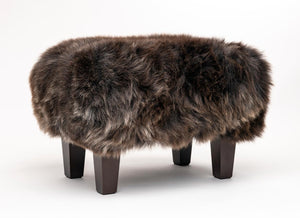 Sheepskin footstool chocolate brown