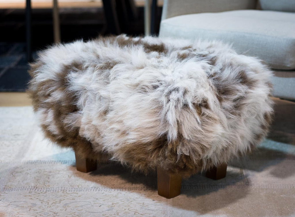 A cute NZ wool sheepskin footstool