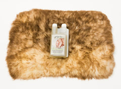 Medium Sheepskin Pet Bed and Cleaning Products