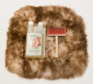 Small Sheepskin Pet Bed and Cleaning Products