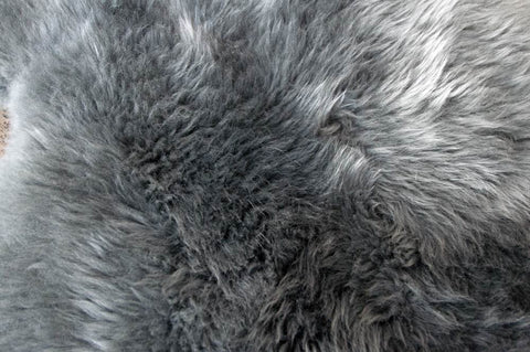 Image of Grey Longwool Double Sheepskin Rug