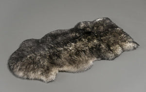 White Grey Tips Sheepskin Rug One and a Half 1.5 Skins