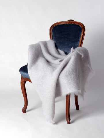 Windermere Silver Light Grey Mohair Throw Blanket
