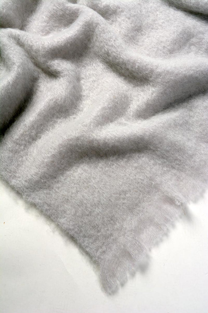 Windermere Silver Light Grey Mohair Chair Throw