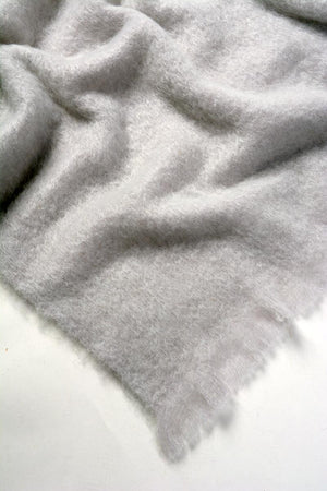Silver Grey Mohair Throw Blanket