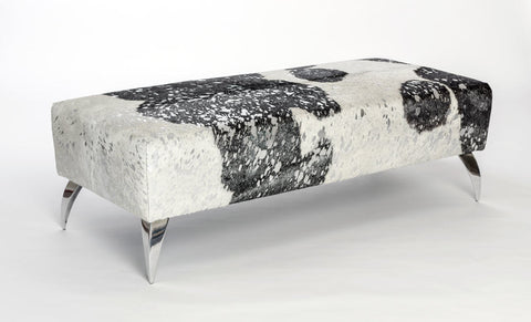 Image of Cowhide bench ottoman in metallic silver, black & white