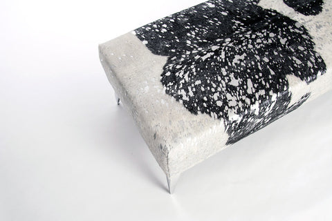 Metallic silver, black & white cowhide bench ottoman