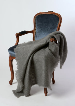 Windermere Slate Grey Mohair Throw Blanket