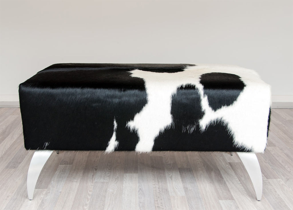 Cowhide Leather Ottoman with Curved Aluminium Legs 80x50x40cm