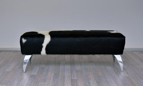 Cowhide Leather Ottoman with Curved Aluminium Legs 100x36x40cm