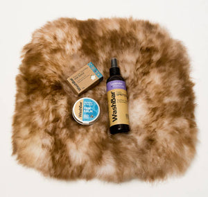 Small Dog Pamper Pack Small Sheepskin Bed Washbar Gift Set