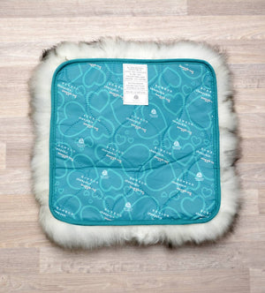 Small Sheepskin Pet Bed Grey Tips - Lined Square 35x35cm