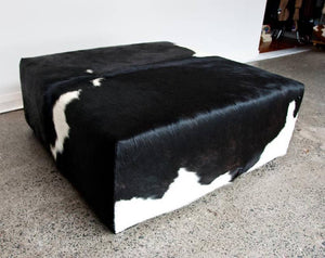 Cowhide Ottoman with Low Square Wood Legs 98x98x40cm