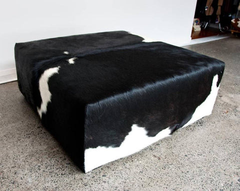 Image of Cowhide Ottoman with Low Square Wood Legs 98x98x40cm