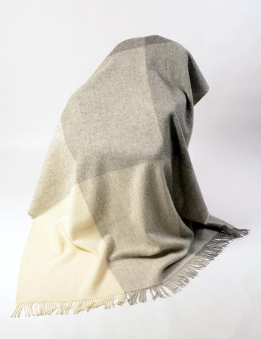 Image of St Bathans wool blanket charcoal grey colour block