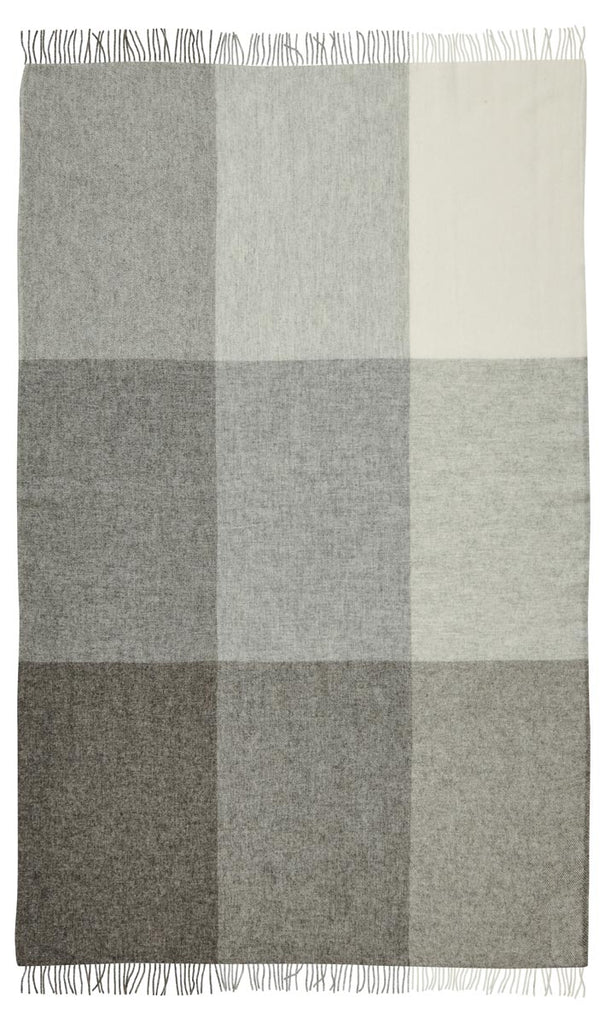 St Bathans wool blanket charcoal grey colour block