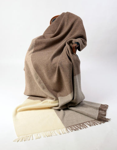 Image of St Bathans wool blanket chocolate and cream colour block