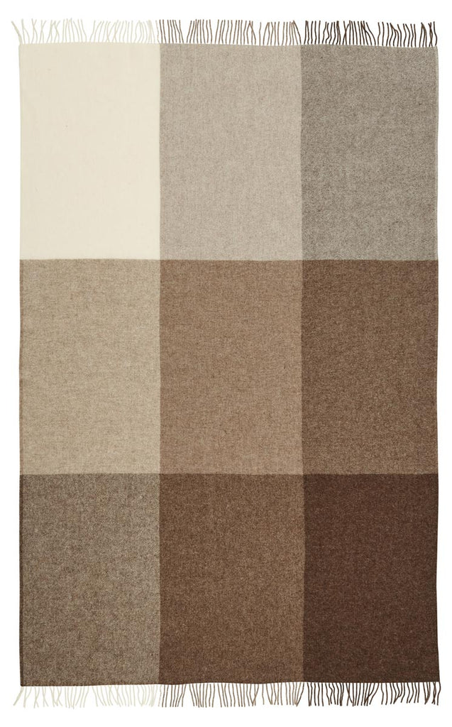 St Bathans wool blanket chocolate and cream colour block