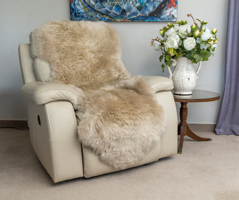 Image of Stone beige double sheepskin rug