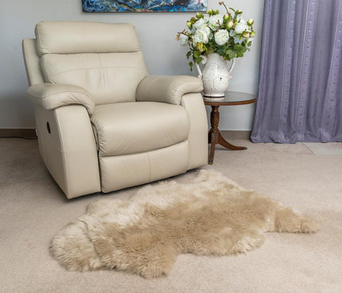 Stone beige sheepskin rug single whole-skin