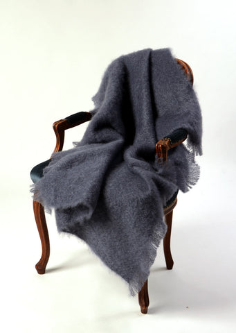 Image of Windermere Storm Grey Mohair Throw Blanket