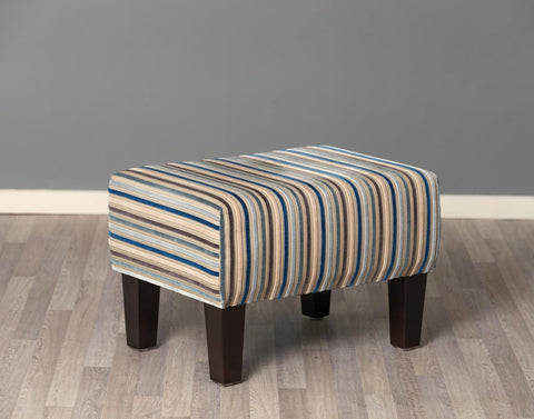 Image of Stripe Fabric Footstool with Wood Legs 55x40x37cm