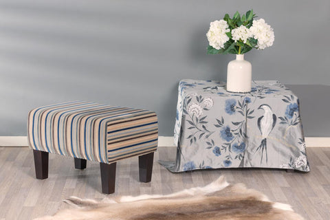 Stripe Fabric Footstool with Wood Legs 55x40x37cm