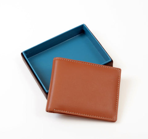 Image of Tan Leather Men's Billfold Wallet RFID Secure