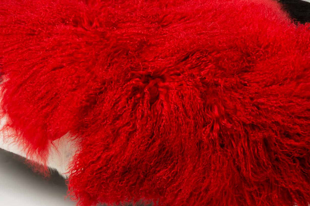 Bright Red Tibetan Lamb Skin